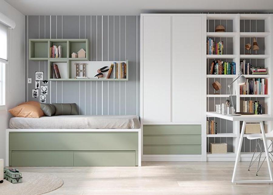 <p>Habitaci&oacute;n juvenil con compacto medio, base&nbsp; de dos cajones y cama deslizante. Adem&aacute;s de un armario de dos puertas con cajones en la parte baja y una zona de estudio con escritorio y una librer&iacute;a de dos columnas.</p>