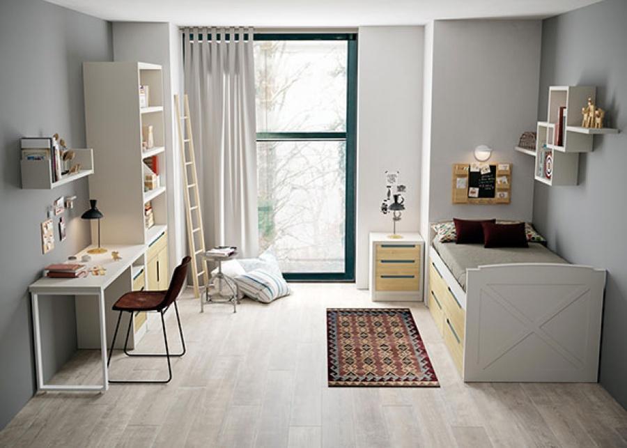 <p>Habitaci&oacute;n juvenil que integra un compacto medio con espacio de almacenamiento+ una mesita de noche. Adem&aacute;s de una zona de estudio con escritorio y una amplia librer&iacute;a.</p>