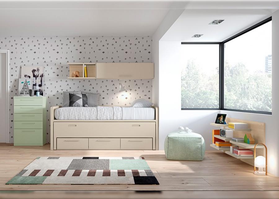 <p>Dormitorio infantil con cama compacta con deslizante y cajones + sinfonier, librería baja y composición mural.</p>