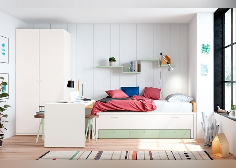 <p>Habitación juvenil con cama fija con deslizante y cajones + armario y zona de estudio</p>