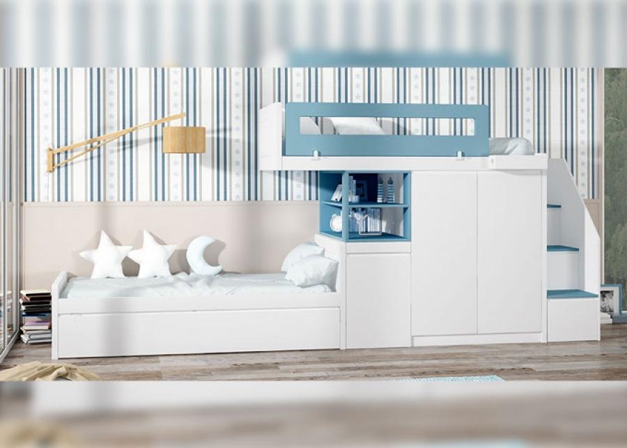 <p>Dormitorio infantil con camas de sistema tren y base de cama nido, dispone de un arcon extraible y un armario de dos puerta&nbsp; adem&aacute;s de una escalera con cajones integrados.</p> <p>&nbsp;</p>