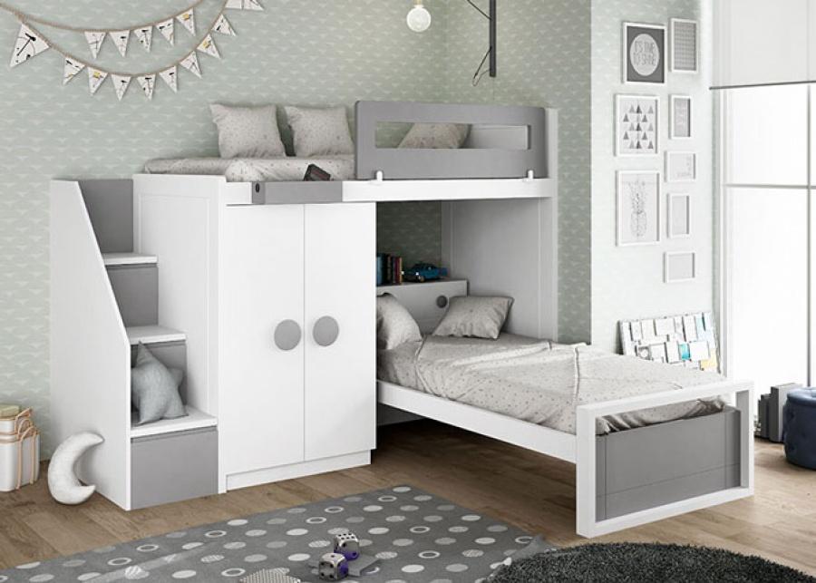 <p>Dormitorio juvenil con cama alta de&nbsp; sistema tren , la cama baja dispone de un cabezal con repisa. Encontramos un armario de dos puertas en la parte inferior y escalera con espacio de almacenamiento.</p>