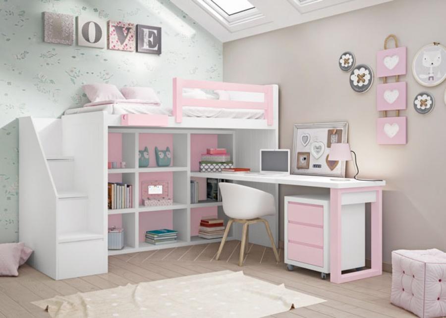 <p>Dormitorio juvenil con&nbsp; cama alta, con escalera de cajones integrados. La&nbsp; parte inferior integra una&nbsp; librer&iacute;a con una zona de estudio equipada con&nbsp; un escritorio&nbsp; y un&nbsp; modulo bajo con tres cajones.</p>