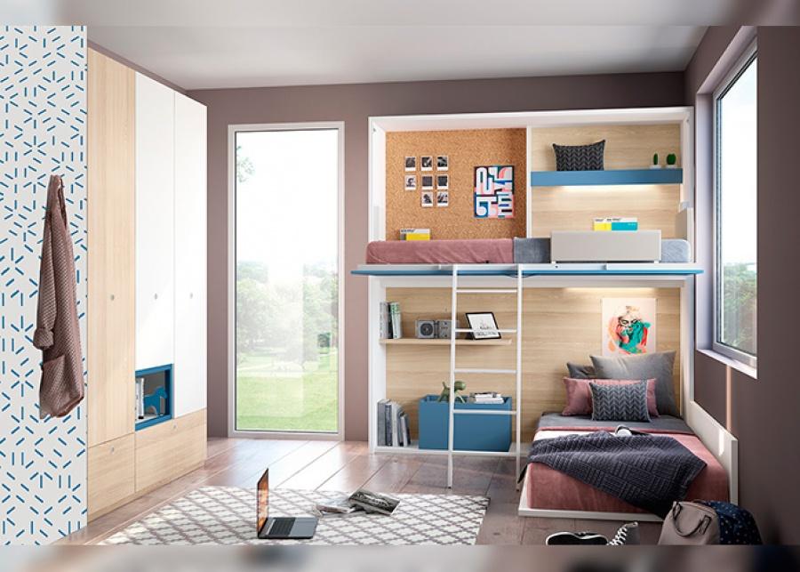 <p>Dormitorio infantil equipado con dos camas; una cama abatible alta y una colocada a ras de suelo sobre tarima.<br />La parte inferior de la cama abatible hace de nicho-cabezal para la cama situada en la parte inferior. La trasera de la cama superior va decorada con pr&aacute;cticos accesorios, como un box porta objetos, tiras de iluminaci&oacute;n LED, estantes o un baul juguetero.&nbsp; La cama inferior dispone de un respaldo bajo, quedando alineado con la estructura de la cama alta.<br />El ambiente se completa con un armario de 3 puertas con cajones vistos y hueco central.</p>