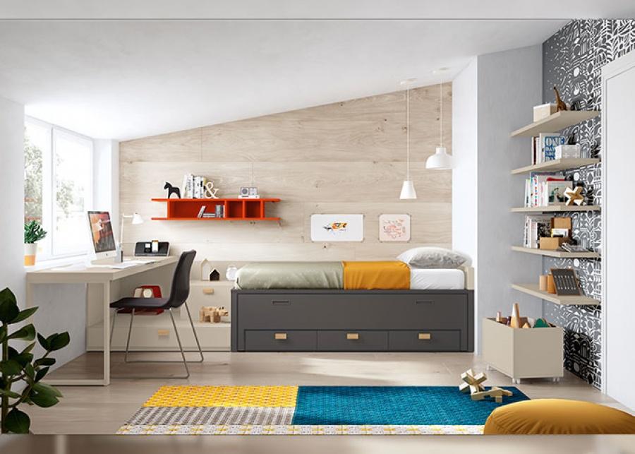 <p>Habitaci&oacute;n juvenil con compacto de 2 camas de 90 x 190 + zona de estudio.</p>
