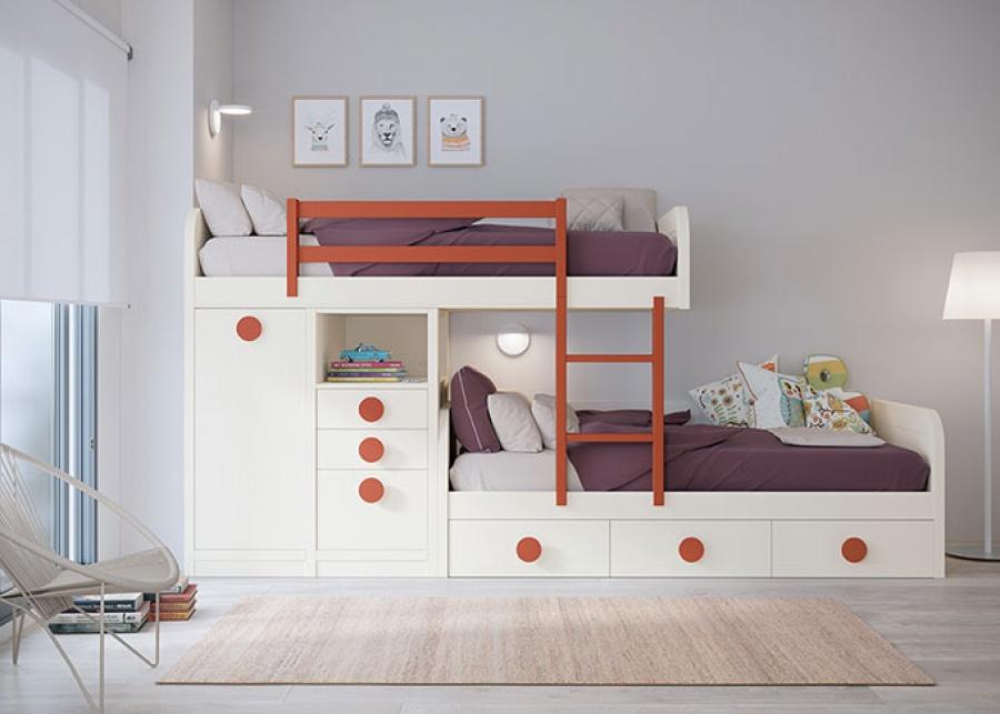 <p>Dormitorio infantil con literas tren y cama inferior con nido de 4 cajones. La cama alta apoya sobre unos módulos block, un arcón extraible con mesa y una columna con cajones. <br />La barandilla quitamiedos y la escalerilla entre camas están incluidas de serie así como los somieres.</p>