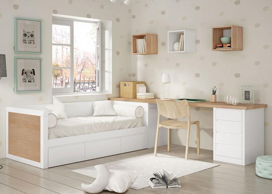 Habitación juvenil con compacto bajo de brazos altos y base de tres cajones, arcón extraible y zona de estudio con escritorio y modulo bajo