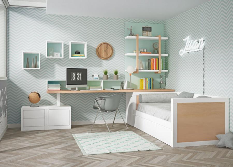 Dormitorio juvenil con compacto bajo de brazos altos y respaldo de base con dos cajones, con arcon extraible y zona de estudio con espacio para libreria,