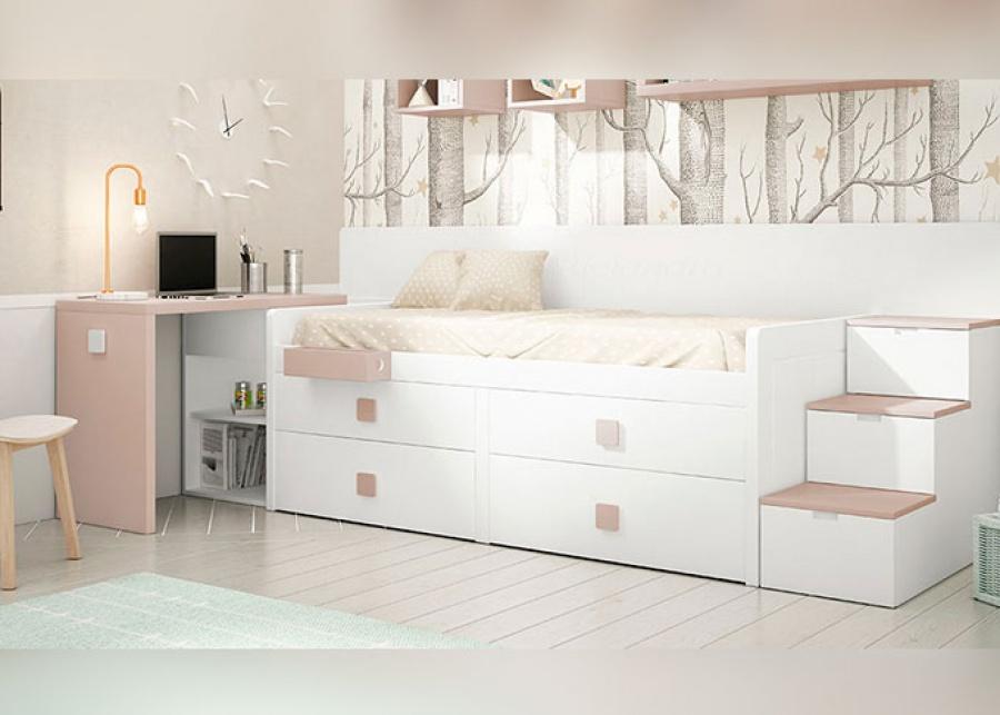 <p>Habitaci&oacute;n juvenil con compacto alto, base de dos cajones y dos m&aacute;s superiores,&nbsp; arc&oacute;n extraible, convertible en escritorio con almacenamiento. Para subir a la cama; una escalera con almacenamiento interno. Como plus de almacenamiento dos cubos diafanos y una estanter&iacute;a en forma de C.</p> <p>&nbsp;</p>