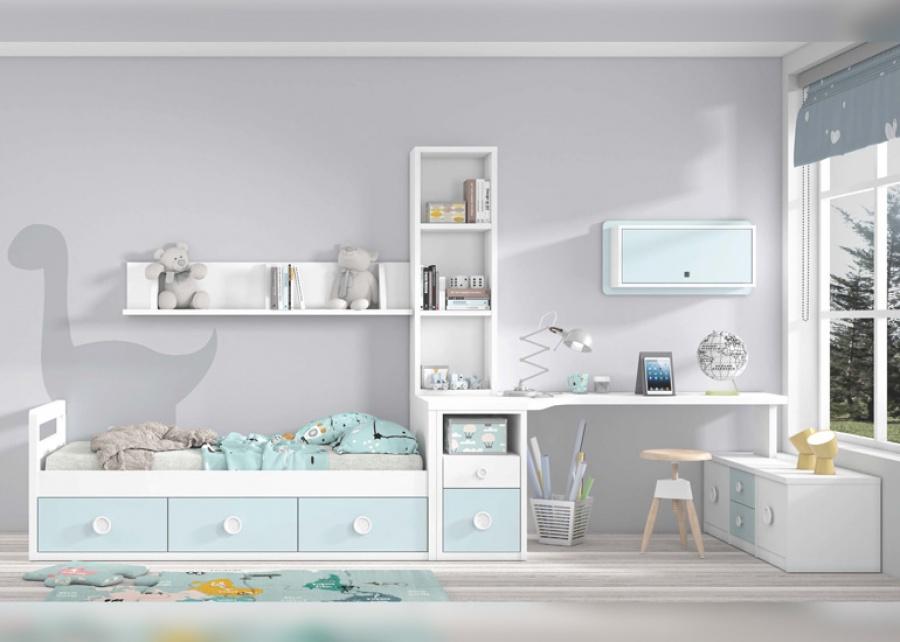 <p>Dormitorio juvenil con cama nido de 3 cajones y zona de estudio.</p>