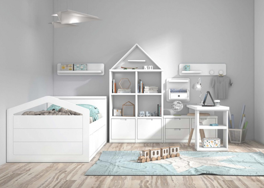 <p>Habitaci&oacute;n infantil con nido de 3 cajones, librer&iacute;a con contenedores y escritorio perpendicular.</p>