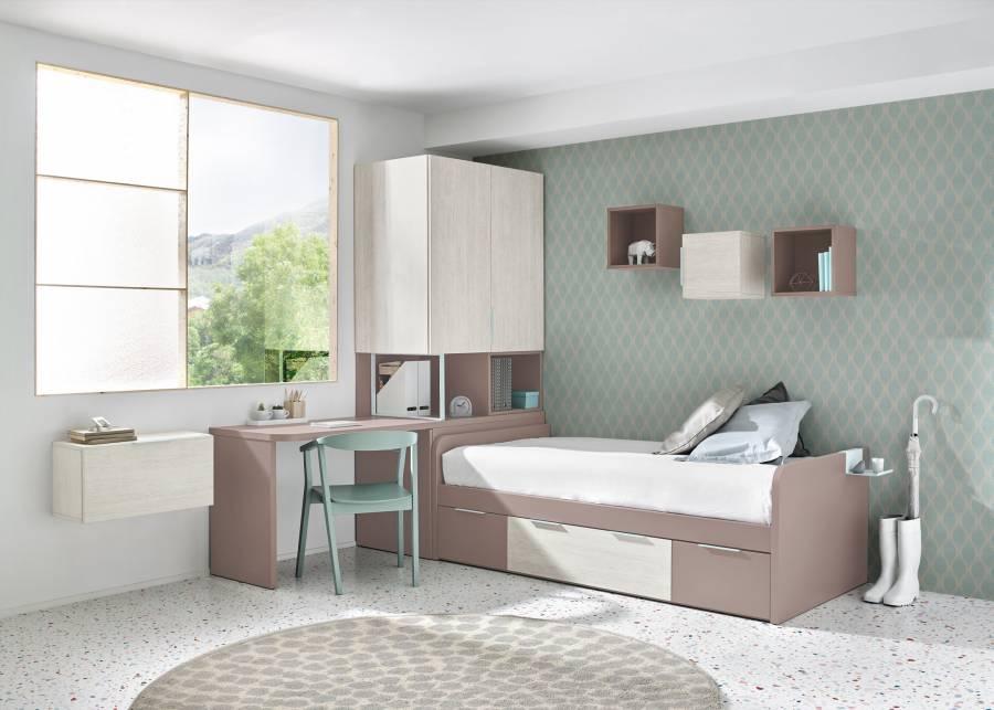 Dormitorio infantil equipado con una cama nido con brazos, para medida de colchón de 90 x 190 y base de 2 contenedores y un baúl central.El