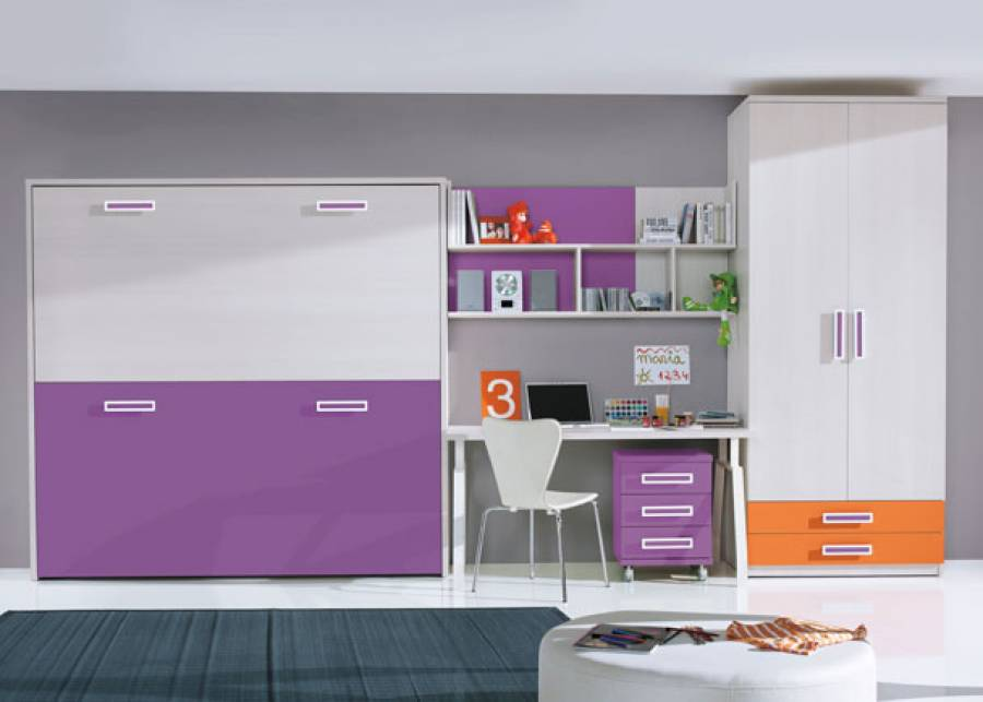 Dormitorio infantil con armario de 1m de dos puertas y 2 cajones vistos.La zona de descanso la compone un mueble que contiene dos camas abatibles en horizontal,
