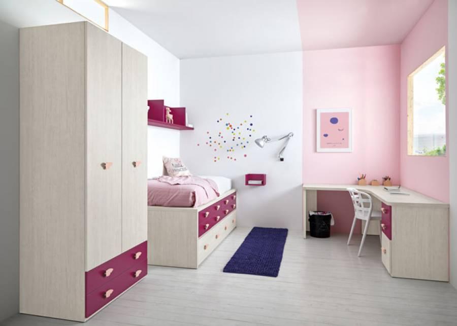 <p>Dormitorio infantil con&nbsp; cama compacta de 8 cajones. El ambiente se ha planteado como un juego de vol&uacute;menes para hacer m&aacute;s interesante un espacio peque&ntilde;o.&nbsp;</p>