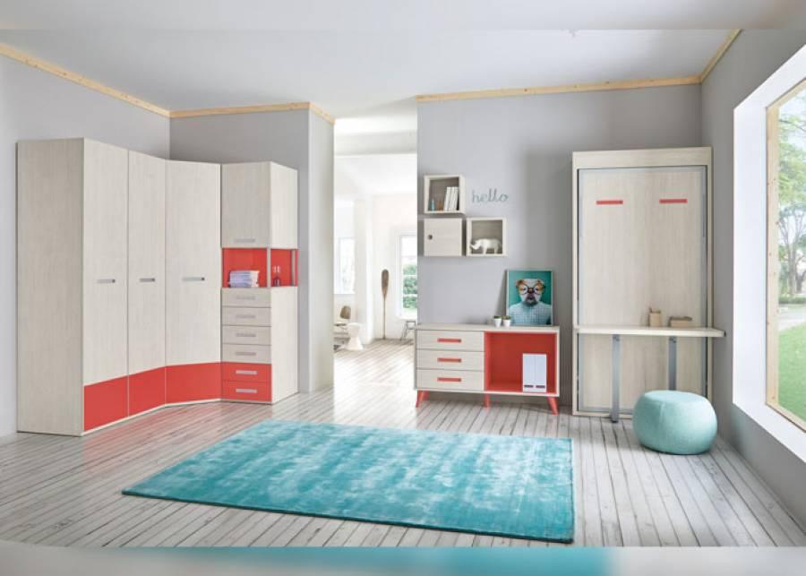<p>Habitaci&oacute;n infantil con zona de armarios y cama abatible vertical con escritorio plegable.<br />Los armarios de puerta bicolor permiten combinar los acabados para que puedas personalizar tu ambiente como m&aacute;s te guste. La modulaci&oacute;n se compone de un armario rinc&oacute;n, uno recto de dos puertas&nbsp; y un armario mesita con unapuerta y cajones vistos.</p>