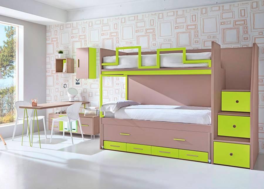 <p>Dormitorio infantil con litera con base compacta con una tercera cama tipo deslizante y base de 4 cajones. El ambiente cuenta con zona de estudio y escalera de 3 pelda&ntilde;os con barandilla protectora.</p>