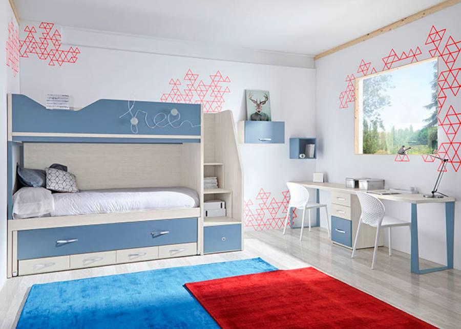 <p>Dormitorio infantil con litera de 3 camas con base de 4 cajones + Zona de estudio</p>