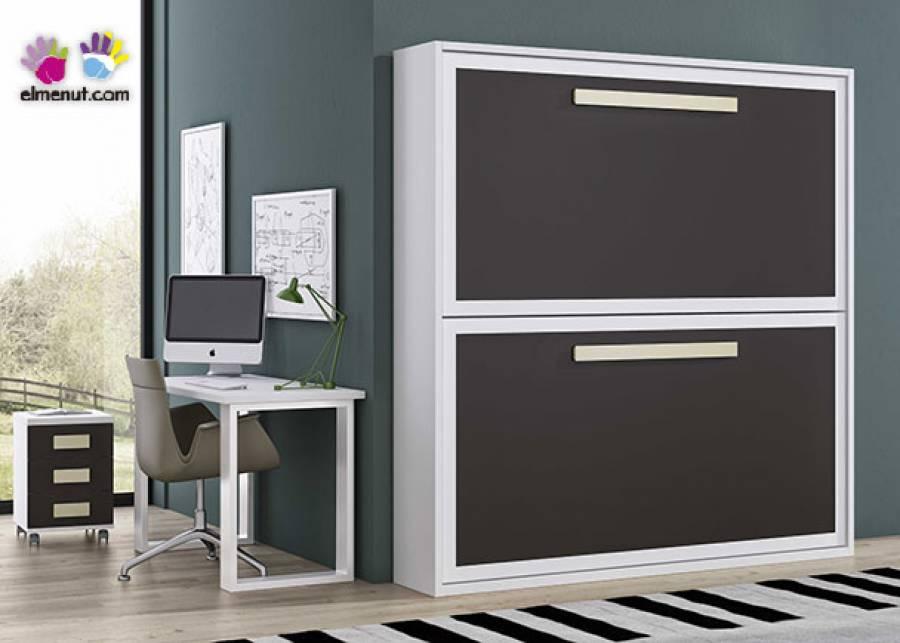 <p>Litera abatible horizontal modelo Krono para colhones de 90 x 190. El ambiente se completa con una mesa de oficina y un book de 3 cajones con ruedas.</p>