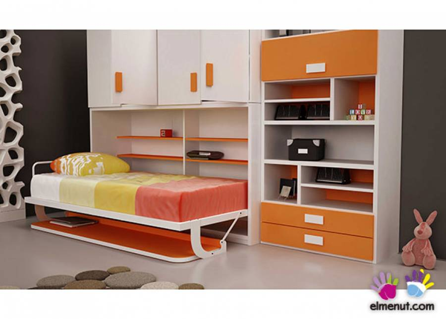 <p>Cama abatible horizontal para colchon de 90 x 190 con escritorio. El modulo cuenta con un amplio armario de 4 puertas batientes con dos huecos, en la parte superior; uno con barra de colgar y otro con estantes. A la derecha hemos a&ntilde;adido una librer&iacute;a asimetrica.</p>