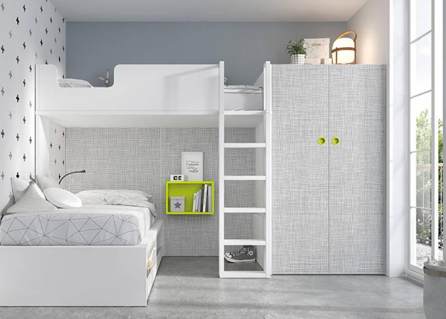Esta litera con cama nido, es una solución de espacio ideal parahabitaciones juveniles compartidas. La cama nido dispone de un frente con estantes