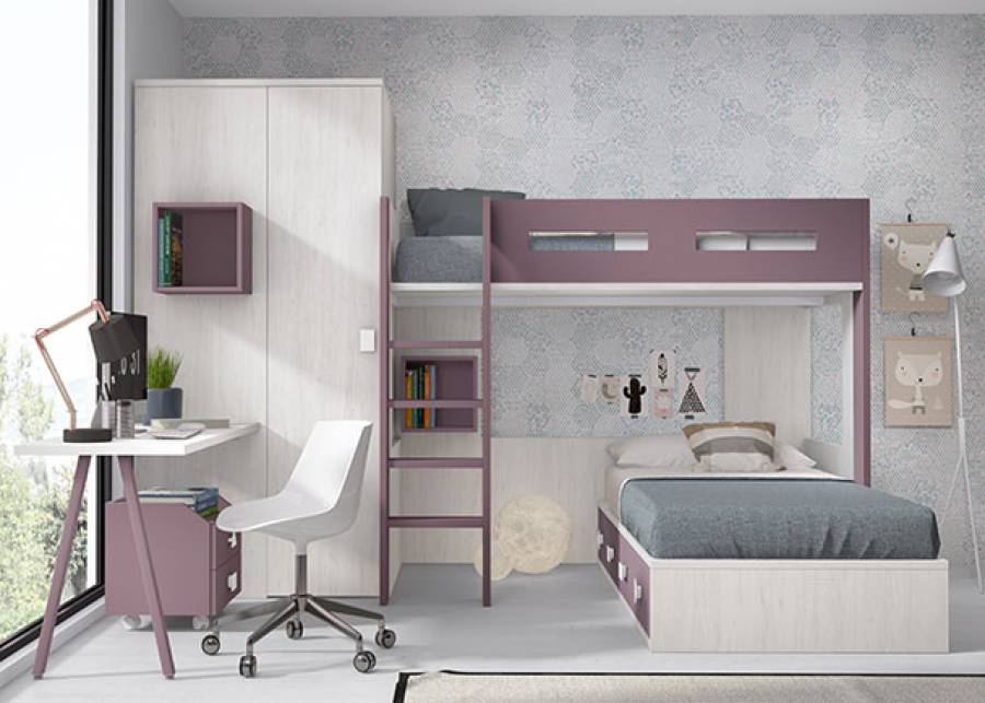 <p>Habitaci&oacute;n infantil con litera exenta y compacto inferior de 4 cajones de 90 x 190. Junto a la cama se ha colocado un armario rinc&oacute;n cuadrado de 2 puertas.</p>