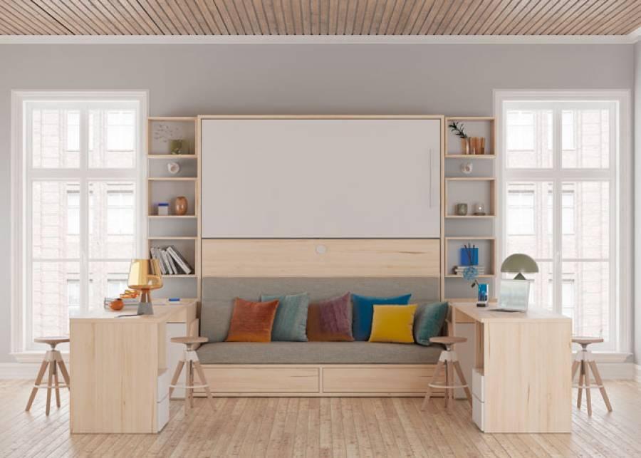 Dormitorio infantil equipado con una litera abatible horizontal con sofá integrado, perteneciente a la nueva serie SYNCRO de Tetris Systems, un concepto
