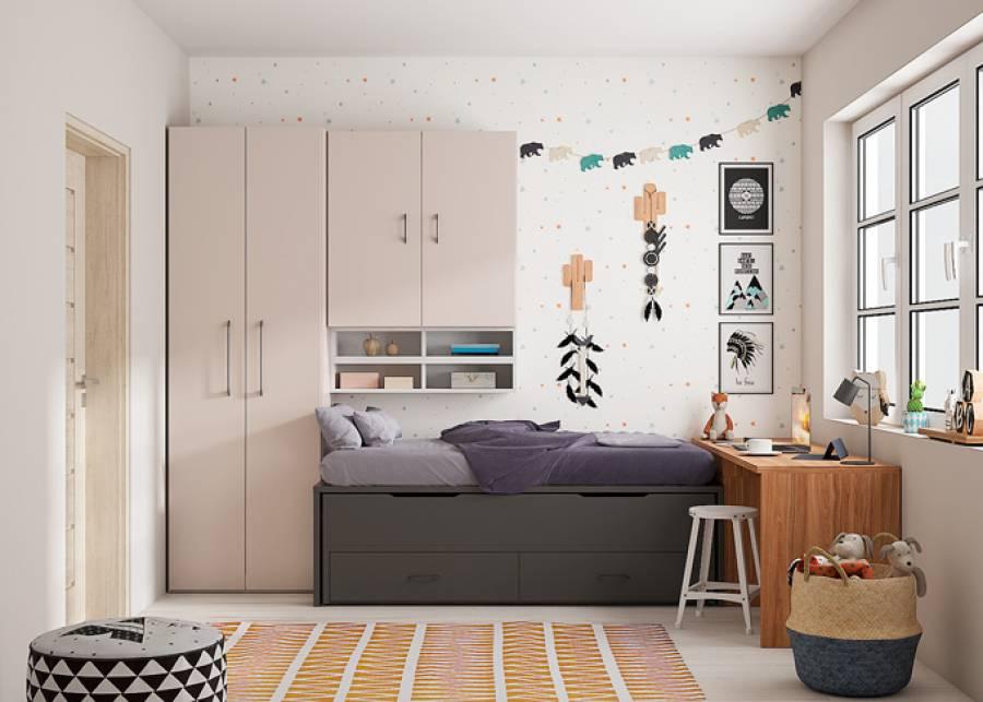 <p>Dormitorio infantil con una cama compacto de dos camas y base de dos cajones + Armario + Altillo puente y zona de estudio.&nbsp;</p>