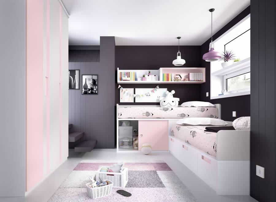 <p>El ambiente sobre el que solicitas informaci&oacute;n, corresponde a una habitaci&oacute;n&nbsp; infantil equipada con con 2 camas; una cama principal fija para colch&oacute;n de 90x190, con 2 contenedores y un ba&uacute;l para optimizar el almacenaje, y un compacto para colch&oacute;n de 90 x 190 ubicado en un nivel m&aacute;s elevado a 66cm de altura, que alberga una zona de almacenaje inferior con puerta corredera.<br />El ambiente se completa con un armario de 3 puertas de gran capacidad optimizando el almacenamiento de 150 x 56Fx 218h , con cajonera interior, baldas y zona de colgar.<br />Sobre la cama se ha realizado una sencilla composici&oacute;n mural a base de m&oacute;dulos colgantes.</p>