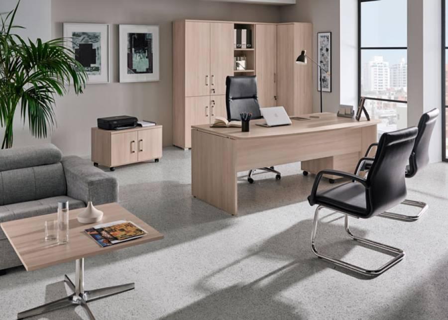 <p>Ambiente de despacho equipado con la serie OF-BASIC, orientado al equipamiento de oficinas de est&eacute;tica contempor&aacute;nea, que presenta una amplia gama de formatos en mesas y auxiliares, as&iacute; como de elementos divisorios, para hacer de tu espacio de trabajo, un entorno funcional y atractivo, en los que los conceptos de ergonom&iacute;a y comodidad estar&aacute;n siempre presentes.</p> <p>La presente escena ha sido amueblada con una mesa de direcci&oacute;n con forma, buck de 1 caj&oacute;n + 1 contenedor, zona archivo con librer&iacute;as y 1 m&oacute;dulo de almacenamiento cerrado con 4 puertas, un m&oacute;dulo auxiliar con ruedas para la impresora, y una mesa baja con pie met&aacute;lico para la zona de espera, adem&aacute;s de la siller&iacute;a correspondiente.</p>