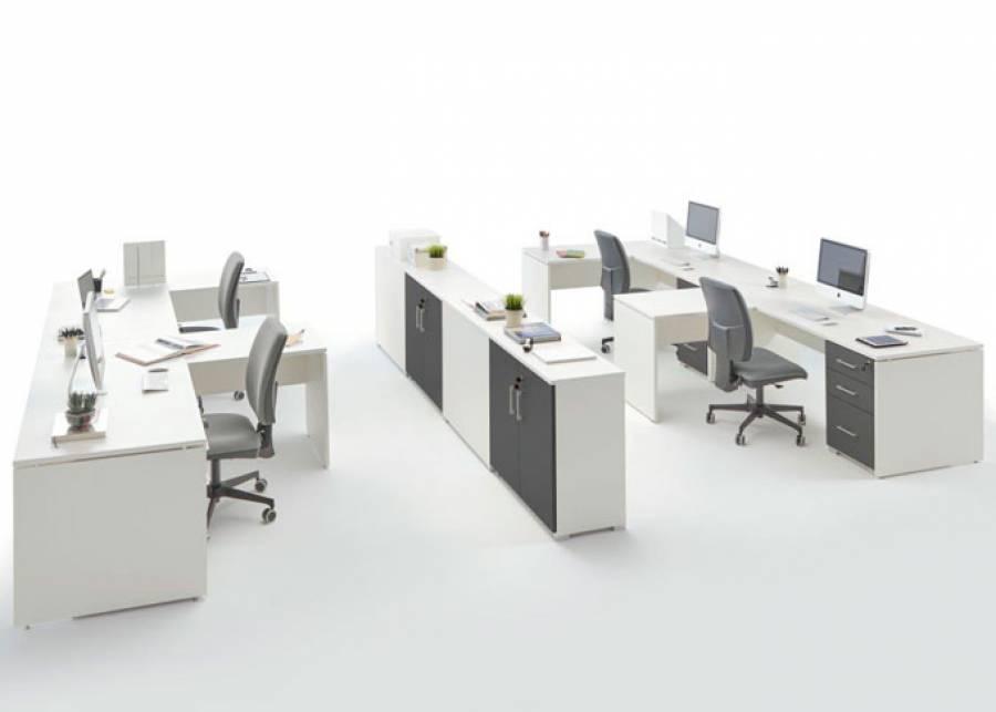 Ambiente de despacho equipado con la serie OF-BASIC, orientado al equipamiento de oficinas de estética contemporánea, que presenta una amplia gama