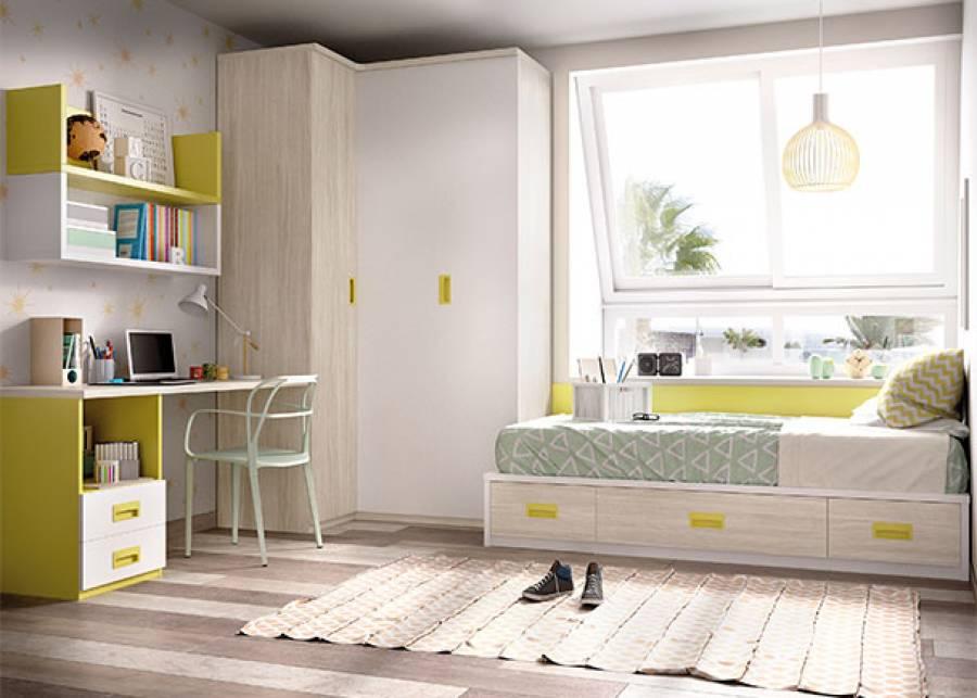 Habitación infantil equipada con, cama nido de cajones y arcón de arrastre, en cuyo lateral izquierdo se ha colocado un armario rincón de d