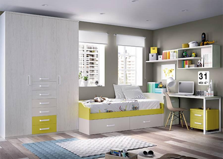 Habitación infantil equipada con; cama nido con base de dos cajones, en cuya cabecera se ha colocado un arcón zapatero como base de escritorio. A