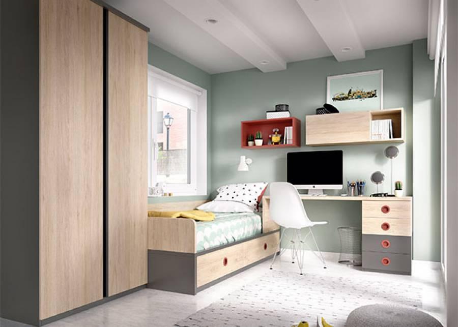<p>Dormitorio juvenil equipado con, cama nido con base de cajones y respaldo, una zona de estudio compuesta por mesa de 120cm con m&oacute;dulo inferior de cuantro cajones. En el otro extremos de la cama se ha colocado un armario de dos puertas correderas con tiradores de aluminio.</p>