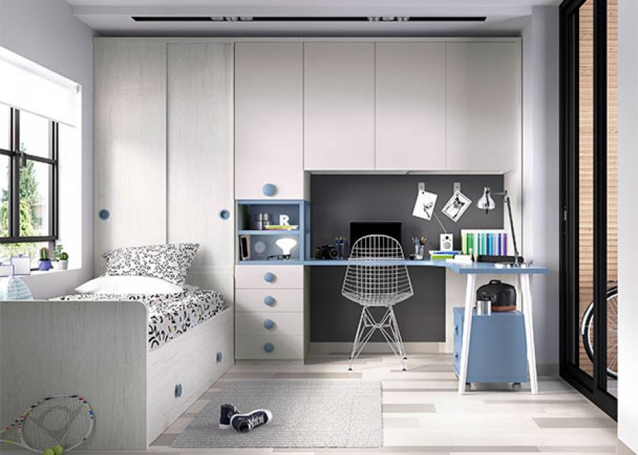 Habitación infantil compuesta por cama nido de camas, con somier de arrastre y cabezal alto, en cuya cabecera se ha colocado un armario de 2 puertas corr