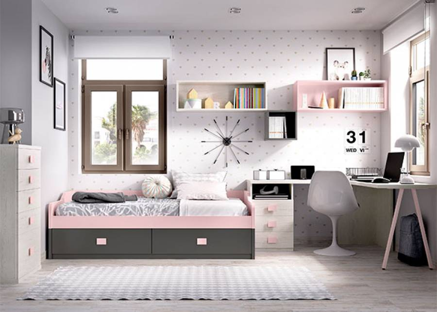 Habitación infantil compuesta por, cama nido bicolor con base fija y 2 cajones deslizantes. La habitación dispone de zona de estudio con mesa de t