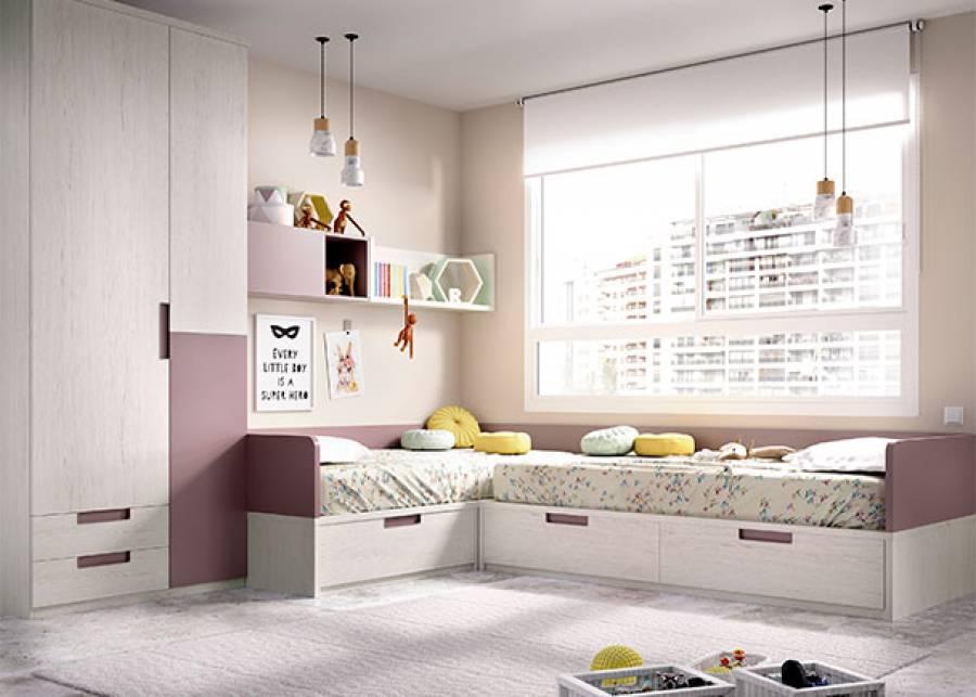 """<p>Habitaci&oacute;n infantil compuesta por compacto doble de 2 camas de 90 x 190 en """"L"""", con 3 amplios contenedores extra&iacute;bles y armario asim&eacute;trico de tres puertas con cajones exteriores. Completa el ambiente una sencilla estanter&iacute;a de pared.</p> <p>&nbsp;</p>"""
