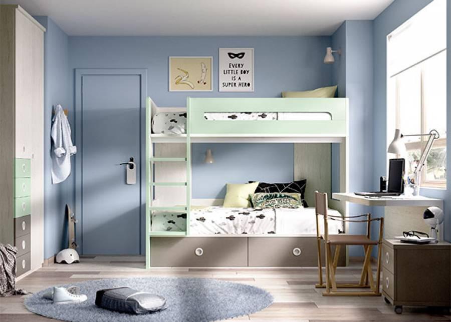 <p>Dormitorio infantil equipado con litera de dos camas y cajones inferiores, armario de 2 puertas con cajones de acceso exterior. Completando la funcionalidad de la habitaci&oacute;n, una mesa de estudio suspendida con trasera inferior, acompa&ntilde;ada por un m&oacute;dulo de cajones m&oacute;vil.&nbsp;</p> <p>&nbsp;</p>