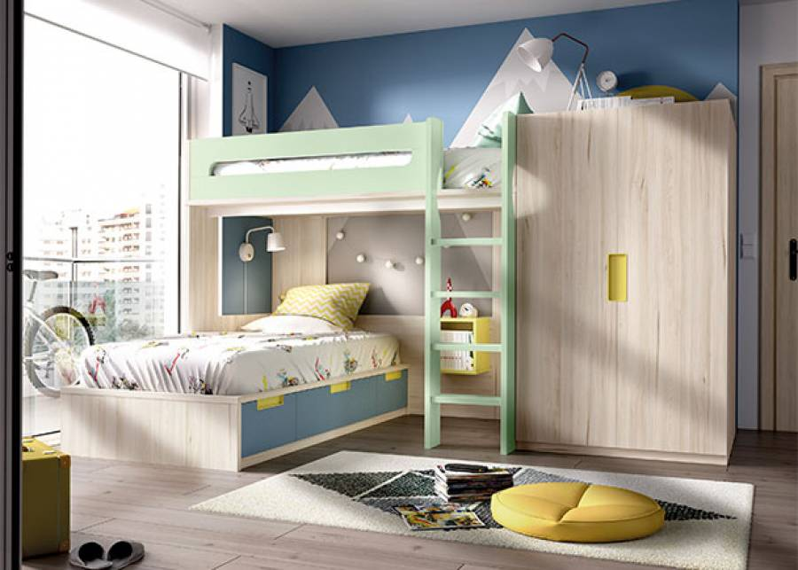 <p>Habitaci&oacute;n infantil equipada con litera de una cama, y en la parte inferior, una cama nido con amplios cajones. Junto a la estructura de la cama se sit&uacute;a un armario de 2 puertas, alineado en altura con la cama superior. La escalera est&aacute; integrada en el conjunto al igual que la barandilla quitamiedos.</p>