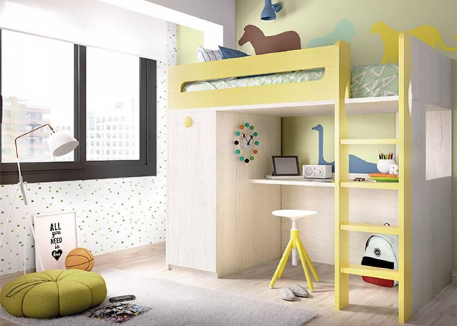 <p>Dormitorio juvenil equipado con litera de una cama superior, bajo la cual se ubica una mesa de estudio y m&oacute;dulo de armario extra&iacute;ble. Dispone de escalera, que est&aacute; integrada en el conjunto al igual que la barandilla quitamiedos fija.</p>