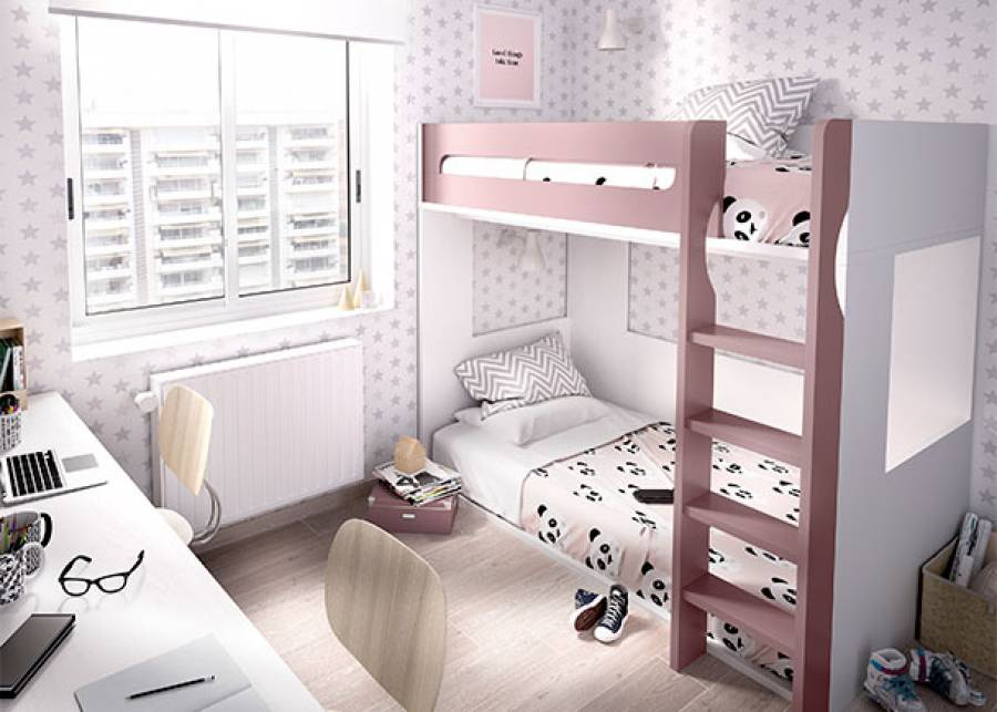 <p>Habitaci&oacute;n infantil, compuesta por litera de 2 camas, la inferior a ras del suelo, ideal para los peques de la casa. Pensada para colchones de 90 x 190 no requiere somier.</p>