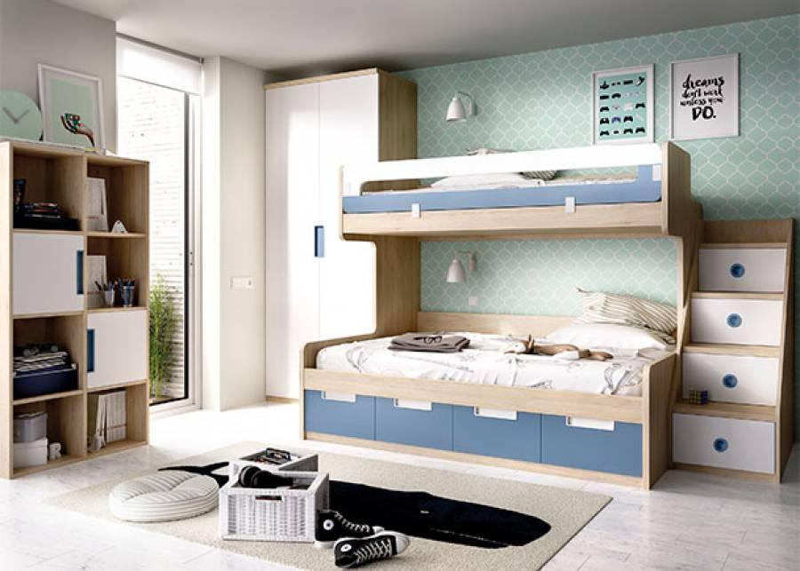 <p>Dormitorio juvenil compuesto por litera con cama superior de 90 x 190 y cama inferior de 135 x 190 + una escalera de 4 escalones amplios que sirven de almacenaje. Completa la habitaci&oacute;n una librer&iacute;a de 8 cuerpos y un armario alto de 2 puertas.</p>
