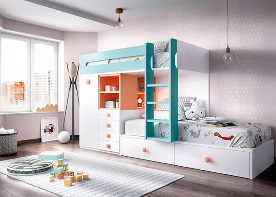 """<p class=""""tamanoTexto"""">Dormitorio infantil equipado con literas tren, compuesta de cama inferior con nido de 2 cajones y cama alta. La cama superior apoya sobre m&oacute;dulos block, armario de un m&oacute;dulo y columna con cajones y estantes.<br />La barandilla quitamiedos y la escalera entre camas, est&aacute;n incluidas de serie, as&iacute; como los somieres.</p> <div class=""""nicdark_space20"""">&nbsp;</div>"""