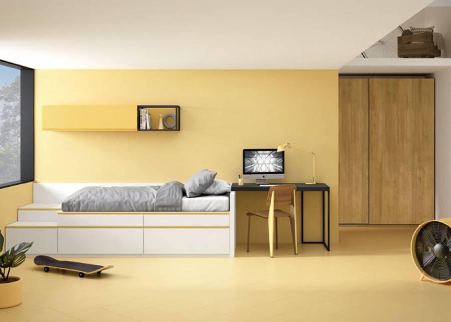 Dormitorio juvenil de estilo contemporáneo, equipado con una serie modular que combina cajones base y cajones apilables con zócalo a suelo que se