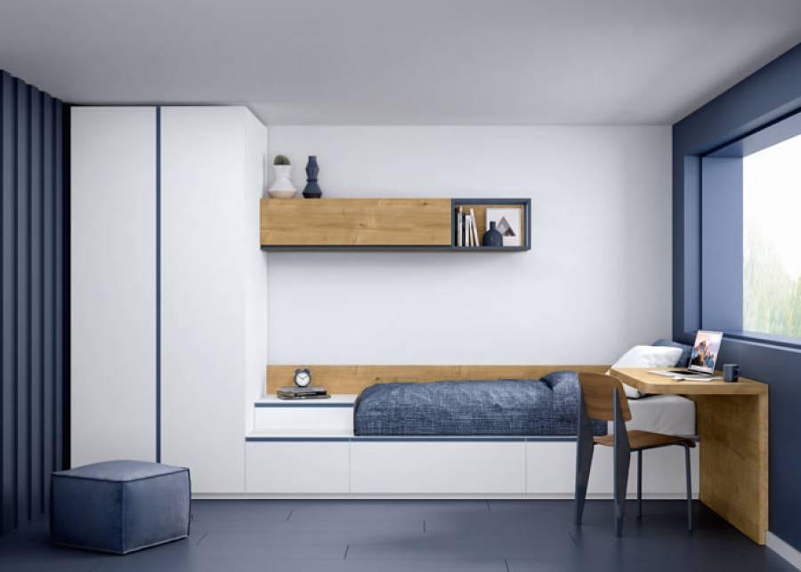 <p>Habitaci&oacute;n infantil equipada a base de modulos bajos con zocalo, combinados con un m&oacute;dulo apilable, un armario de gran capacidad y zona de estudio con un escritorio&nbsp;adaptable a espacios de peque&ntilde;as dimensiones.</p>