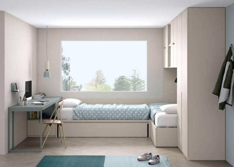 <p>Habitaci&oacute;n infantil compartida con dos camas dispuestas en L, una de ellas es una cama arc&oacute;n de tapa elevable y la otra dispone de un arrastre nido con una tercera cama para poder convertir la estancia en una habitaci&oacute;n triple llegado el caso de necesidad. La cama arc&oacute;n permite aprovechar el espacio de la habitaci&oacute;n al m&aacute;ximo.</p>