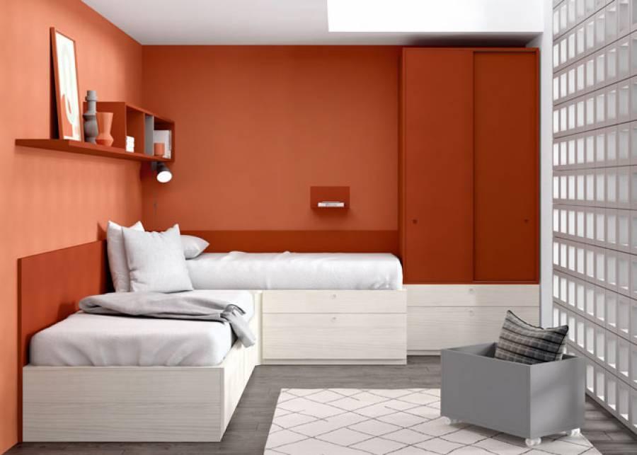 <p>Dormitorio compartido equipado con dos en L. Su m&oacute;dulo rinc&oacute;n conecta las dos camas al tiempo que ofrece una gran de gran capacidad de almacenaje en su interior. El amario de puertas correderas, se apila sobre dos m&oacute;dulos de caj&oacute;n.</p> <p>El equipamiento se completa con un friso perimetral, un ba&uacute;l juguetero con ruedas, y una combinaci&oacute;n de m&oacute;dulos di&aacute;fanos y estantes para la composici&oacute;n mural.</p>