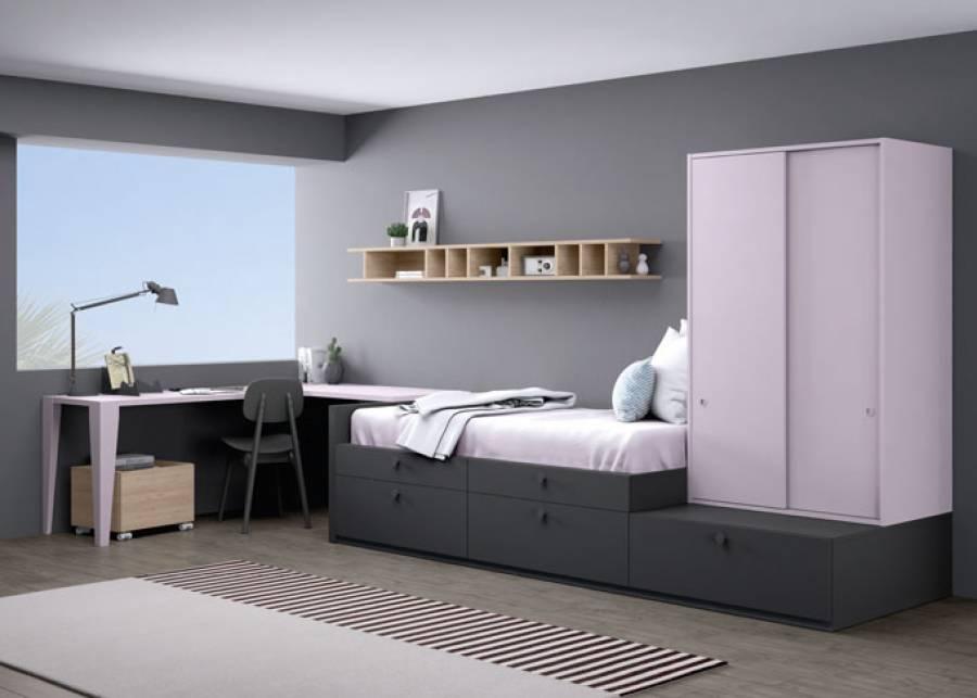 Habitación muy completa con cajones a doble altura y armario apilado de puertas correderas. Especialmente indicado para aprovechar al máximo el es