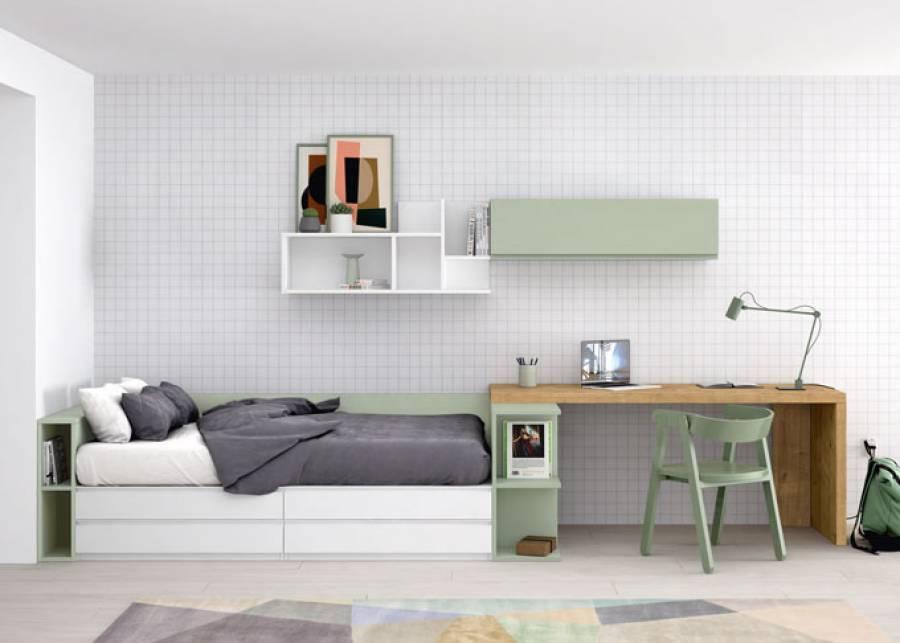 Propuesta lineal para dormitorio juvenil con elementos abiertos. En la cabecera, una mesita-arcón de tapa elevable y altura fuelle, que permite personali