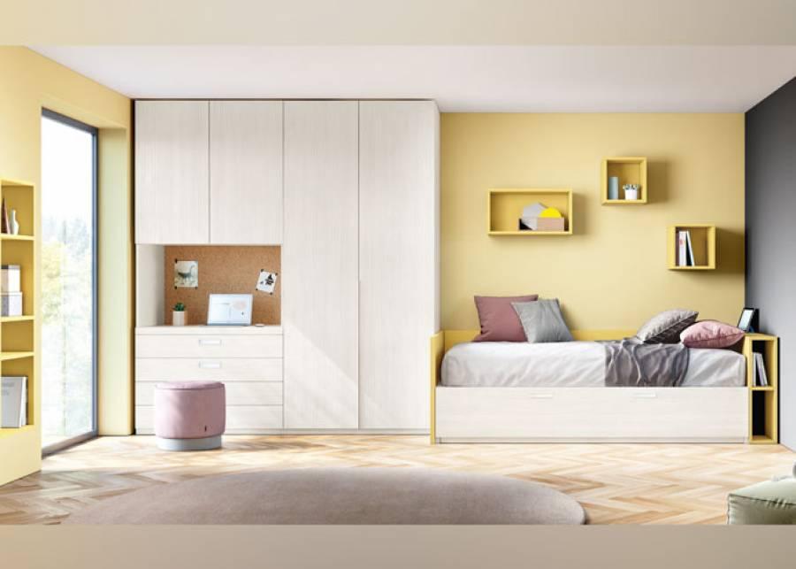 <p>Dormitorio juvenil de estilo contempor&aacute;neo equipado con una distribuci&oacute;n muy completa. El ambiente dispone de una cama nido con cabezal-arc&oacute;n de tapa elevable y librer&iacute;a lateral, adem&aacute;s de un armario alto de 2 puertas y otro con cajones vistos, 2 puertas altas y hueco central con escritorio extra&iacute;ble.</p>
