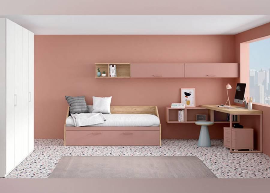 Habitación juvenil con cama nido con base de arrastre y zona de estudio compuesta por un escritorio de sobre con forma, apoyado sobre módulo di&aa